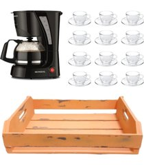 kit 1 cafeteira mondial 110v, 12 xícaras 240ml com pires e 1 bandeja mdf laranja