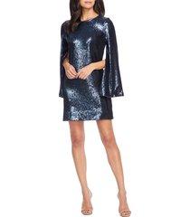 women's dress the population liza long cape sleeve sequin minidress, size x-large - blue