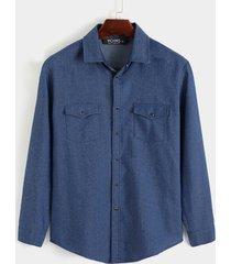 hombres otoño casual liso denim doble bolsillo manga larga camisa