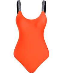 sparkle strap backless one-piece swimsuit