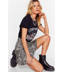 womens cat live without you leopard mini skirt - black