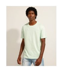 camiseta de algodão básica manga curta gola careca verde claro