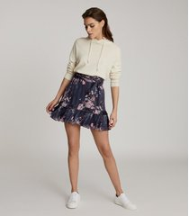reiss liza - floral printed mini skirt in navy print, womens, size 14