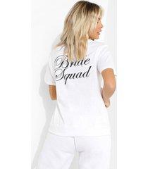 bride squad t-shirt met rugopdruk, white