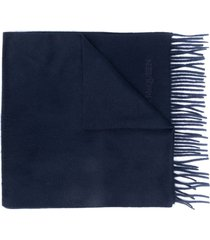 alexander mcqueen embroidered logo scarf - blue