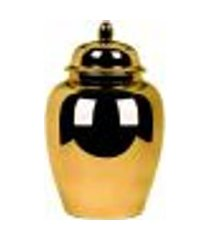 pote potiche cerâmica decoração dourado 24,5x40x24,5cm