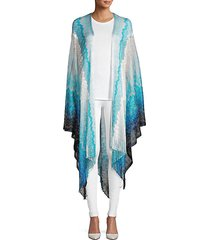 gradient knit fringed cape shrug