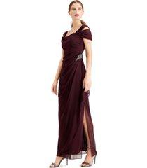 alex evenings cold-shoulder overlay dress