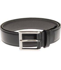 man belt in black smooth leather