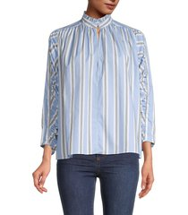 maje women's striped cotton top - blue stripe - size 1 (s)