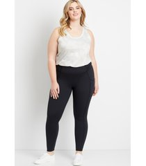 maurices plus size womens high rise black ruched side luxe pocket leggings