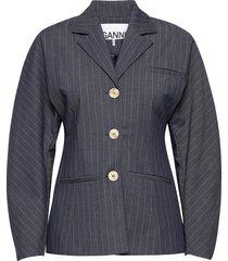 shirt jacket blazers over d blazers blå ganni