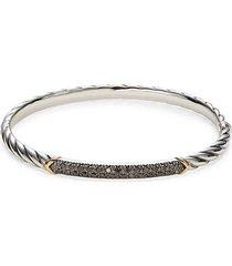 effy women's two-tone & diamond bangle bracelet