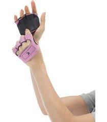 luvas para academia oxer protetor palmar com dedos - feminina - rosa claro