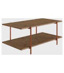 mesa centro vermont/est. cobre artesano marrom/cobre