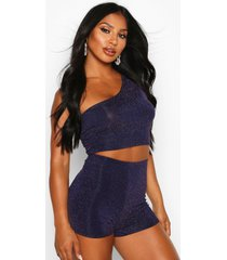 metallic one shoulder crop top, navy