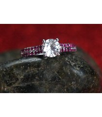 0.85 ct diamond & ruby engagement solitaire wedding ring in 14k white gold fn