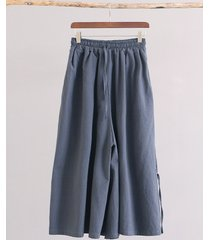 pantaloni a gamba larga vintage elasticizzati con coulisse in vita per le donne