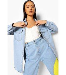 oversized spijkerblouse met zakken, light blue