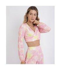 top cropped feminino estampado tie dye decote v com transpasse manga longa rosa neon