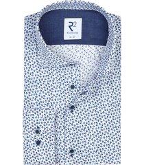 r2 overhemd ml 7 blauw wit geprint