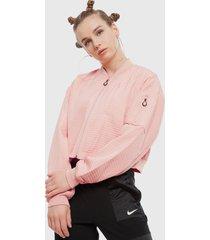 chaqueta nike w nsw tch pck bomber rosa - calce holgado