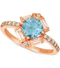 le vian baguette frenzy multi-gemstone (1-1/3 ct. t.w.), and nude diamond (1/4 ct. t.w.) ring in 14k strawberry gold