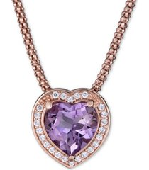 "amethyst (2-1/3 ct. t.w.) & white topaz (1/3 ct. t.w.) heart 17"" pendant necklace in 14k rose vermeil over sterling silver"