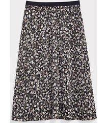 loft floral pleated pull on midi skirt