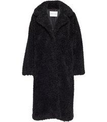 clara coat outerwear faux fur svart stand studio