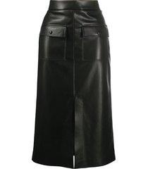 msgm faux leather pencil skirt - 99 black
