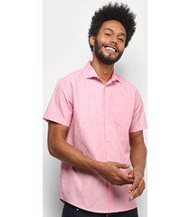 camisa forum slim manga curta bolso masculina