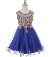 royal blue satin stretchable tulle bodice golden pattern gold rhinestone dress
