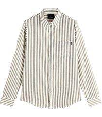 scotch & soda shirt in yarn-dyed pat black & white