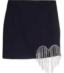 area draped heart-detail mini skirt - black