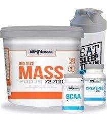 hipercalórico pote 6kg + bcaa 120 tabletes + creatina 100g + coqueteleira bodybuilders.