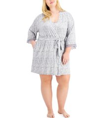 inc plus size lace-trim printed wrap robe, created for macy's