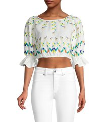 all things mochi women's embroidered linen & cotton crop top - off white - size s