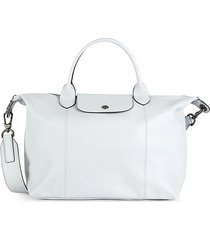 longchamp women's leather satchel - grey