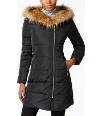 cole haan faux-fur-trim hooded asymmetrical down puffer coat