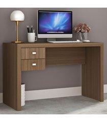 mesa escrivaninha 2 gavetas me4123 amendoa - tecno mobili