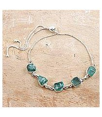 apatite link bracelet, 'modern harmony in green' (india)
