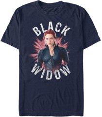marvel men's avengers black widow star burst short sleeve t-shirt
