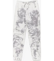 womens tie dye cuffed jogger - grey