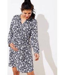 loft maternity floral ruffle cuff tie waist dress