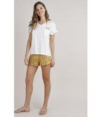 pijama feminino com bolso estampado de folhagem manga curta off white