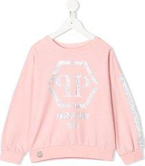 philipp plein crystal logo sweatshirt - pink