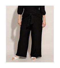 calça plus size pantalona cintura alta com nó preta