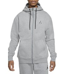 jordan essential fleece zip-up hoodie, size xxx-large in carbon heather at nordstrom