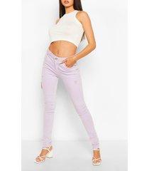 high waist stretch pastel skinny jeans, lilac
